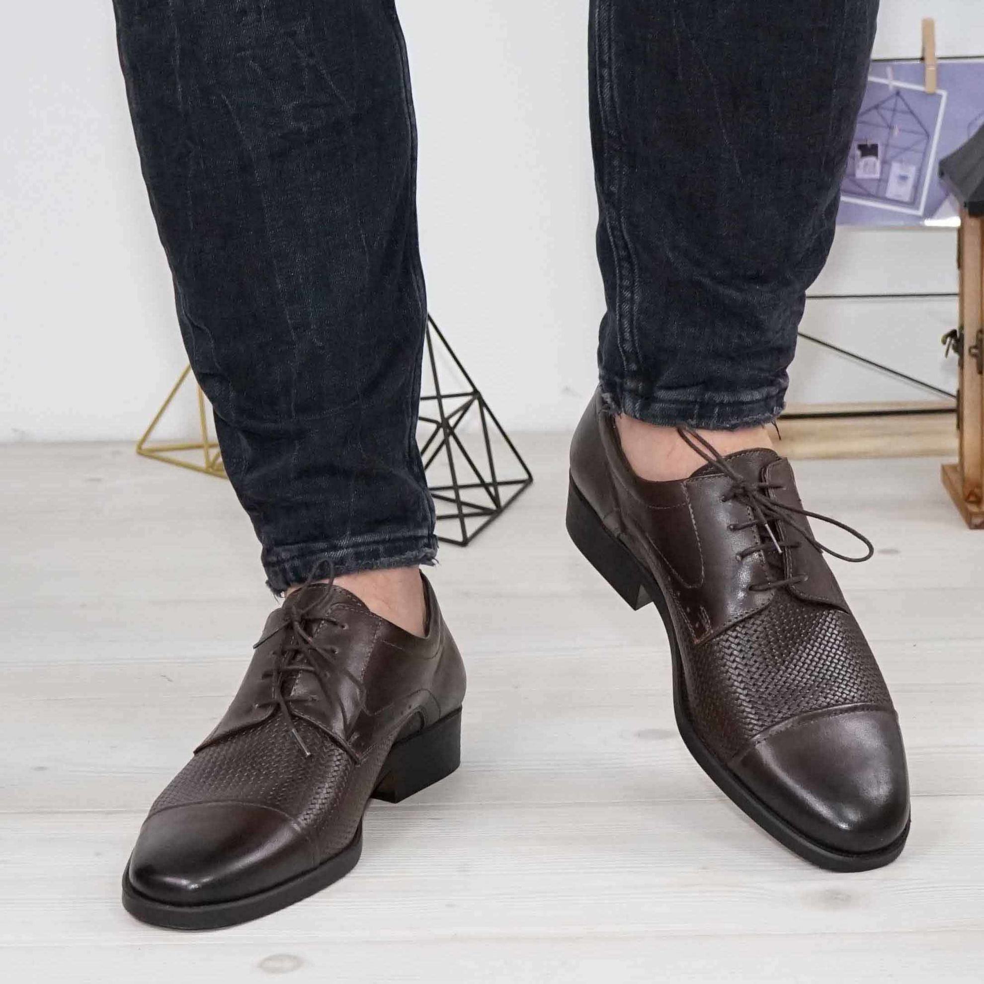 Imagine Pantofi eleganți bărbați din piele naturală 309 MI Maro INCHIS presat