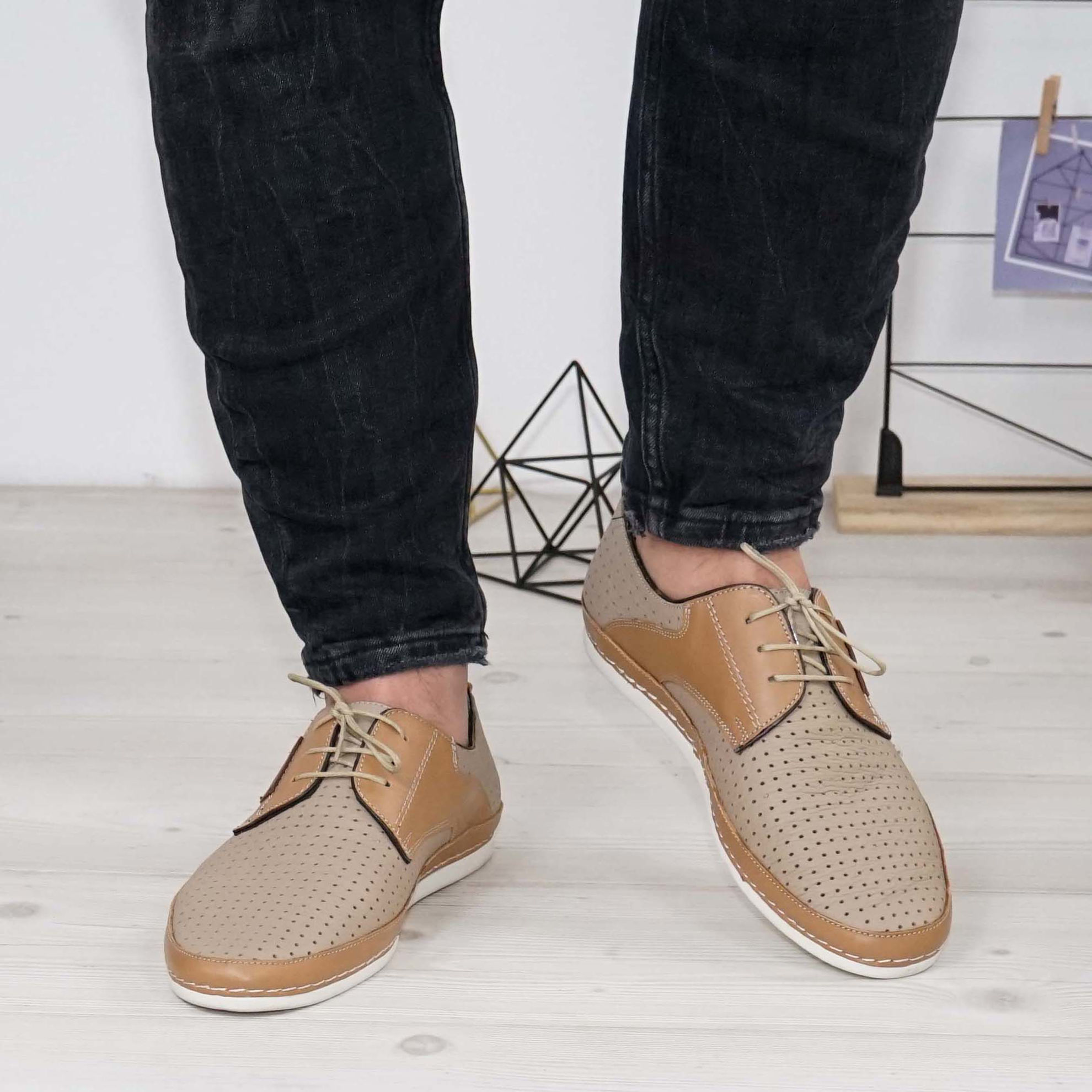 Imagine Pantofi casual bărbați piele naturală 690 perforat Bej