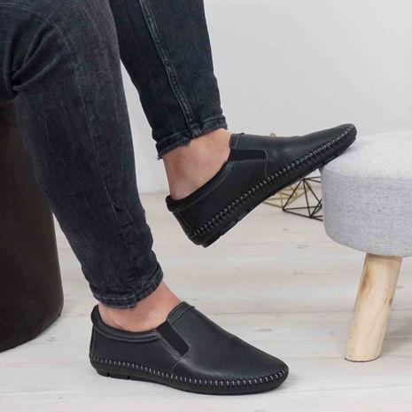 Imagine Pantofi casual bărbați piele naturală 600 Negru NN