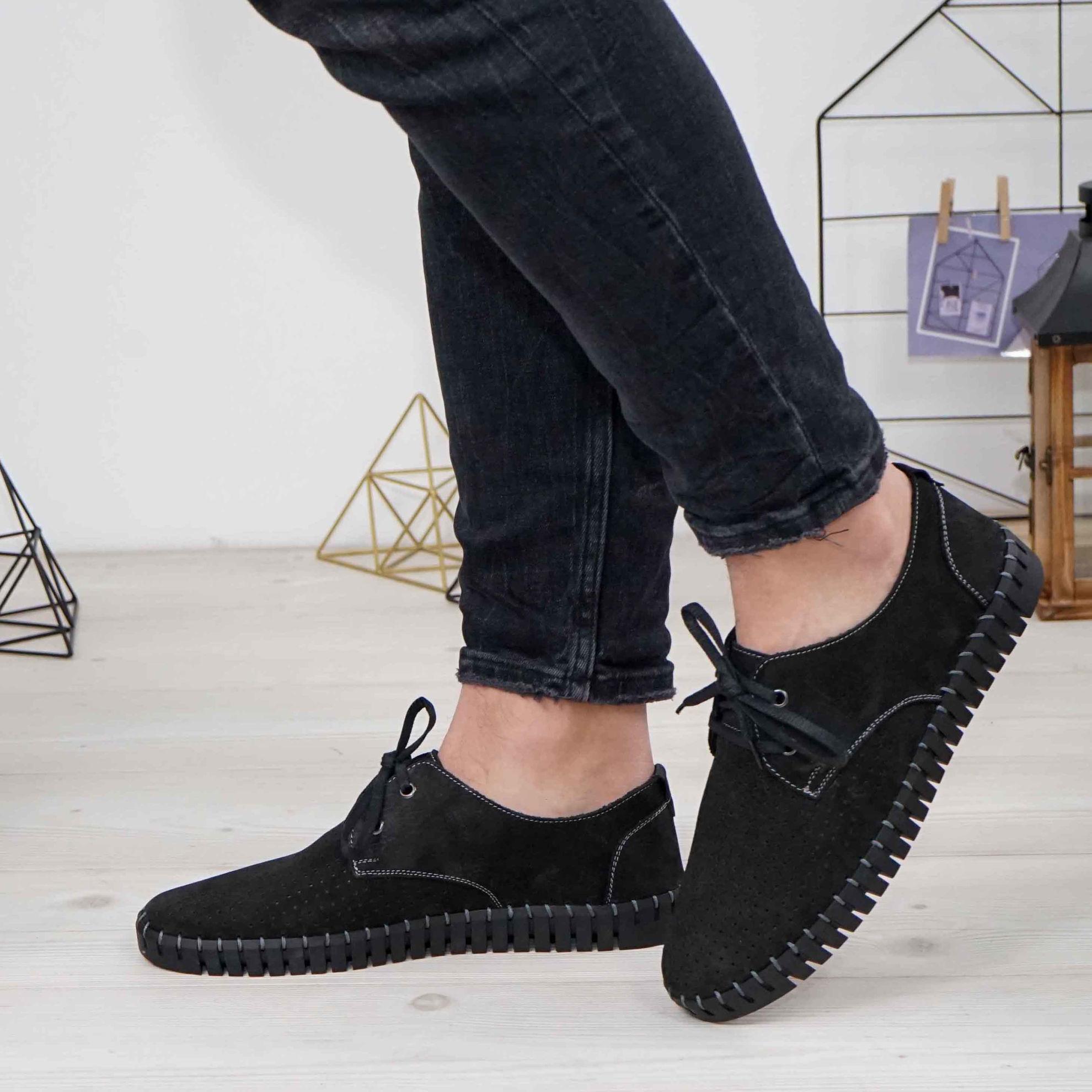 Imagine Pantofi casual bărbați piele naturală 560 negru