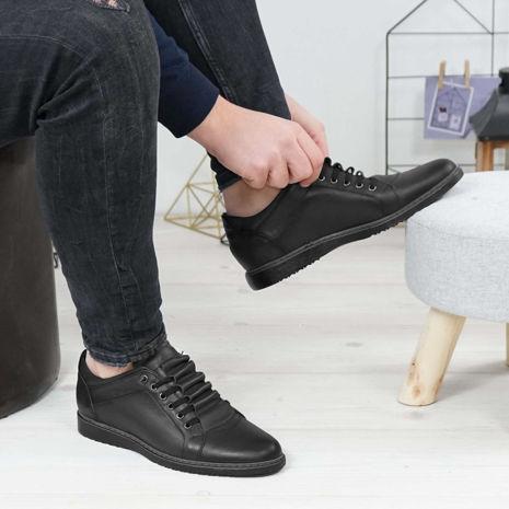 Imagine Pantofi sport bărbați piele naturală 433 Negru M