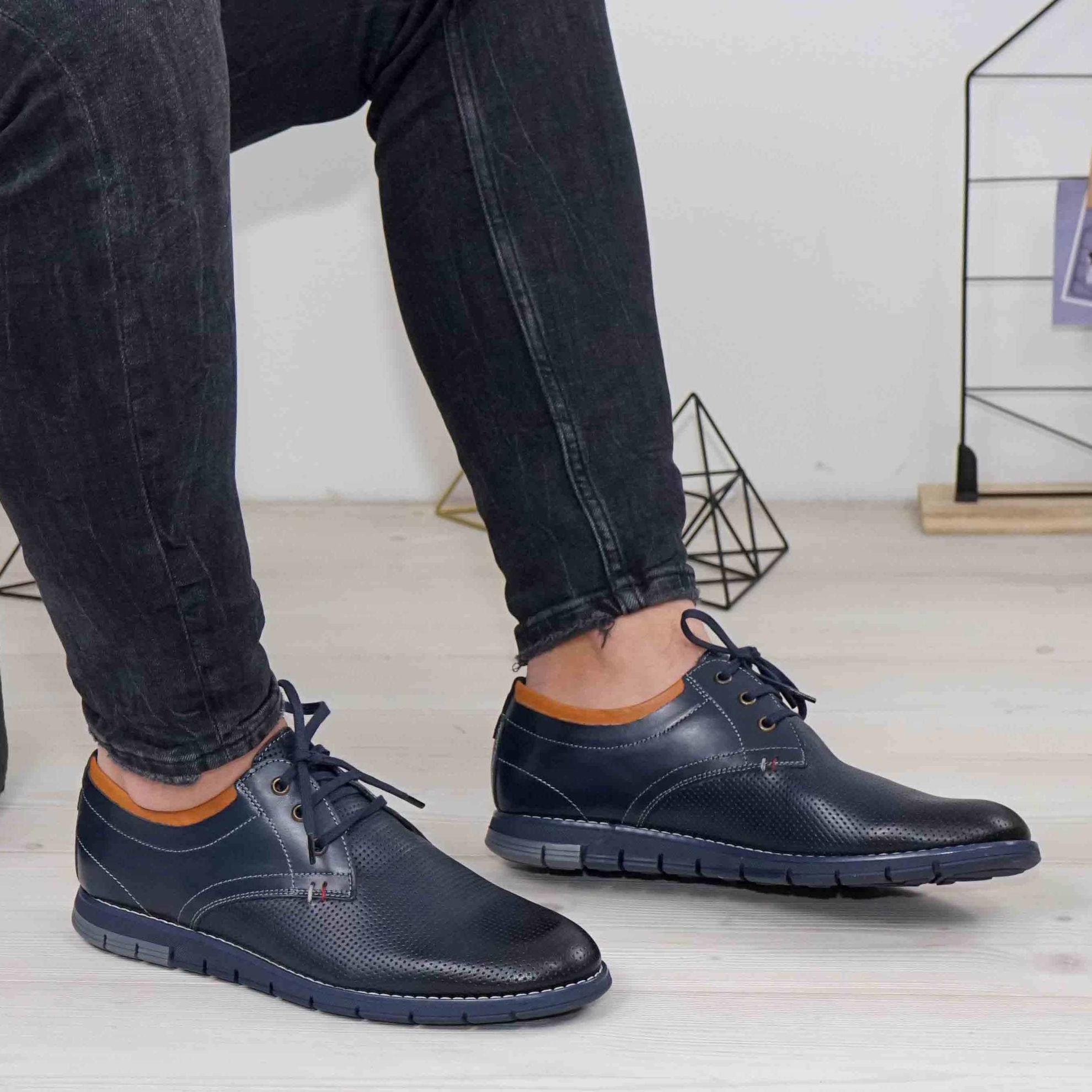 Imagine Pantofi casual bărbați piele naturală 421 Blue
