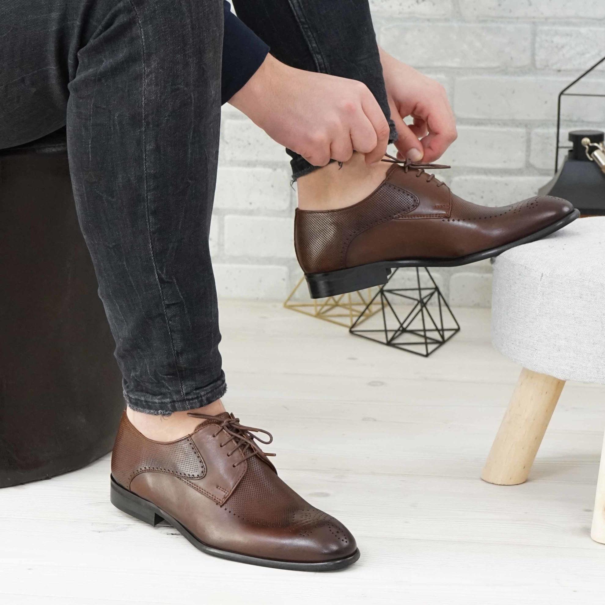 Imagine Pantofi eleganți bărbați din piele naturală  2021SW Maro