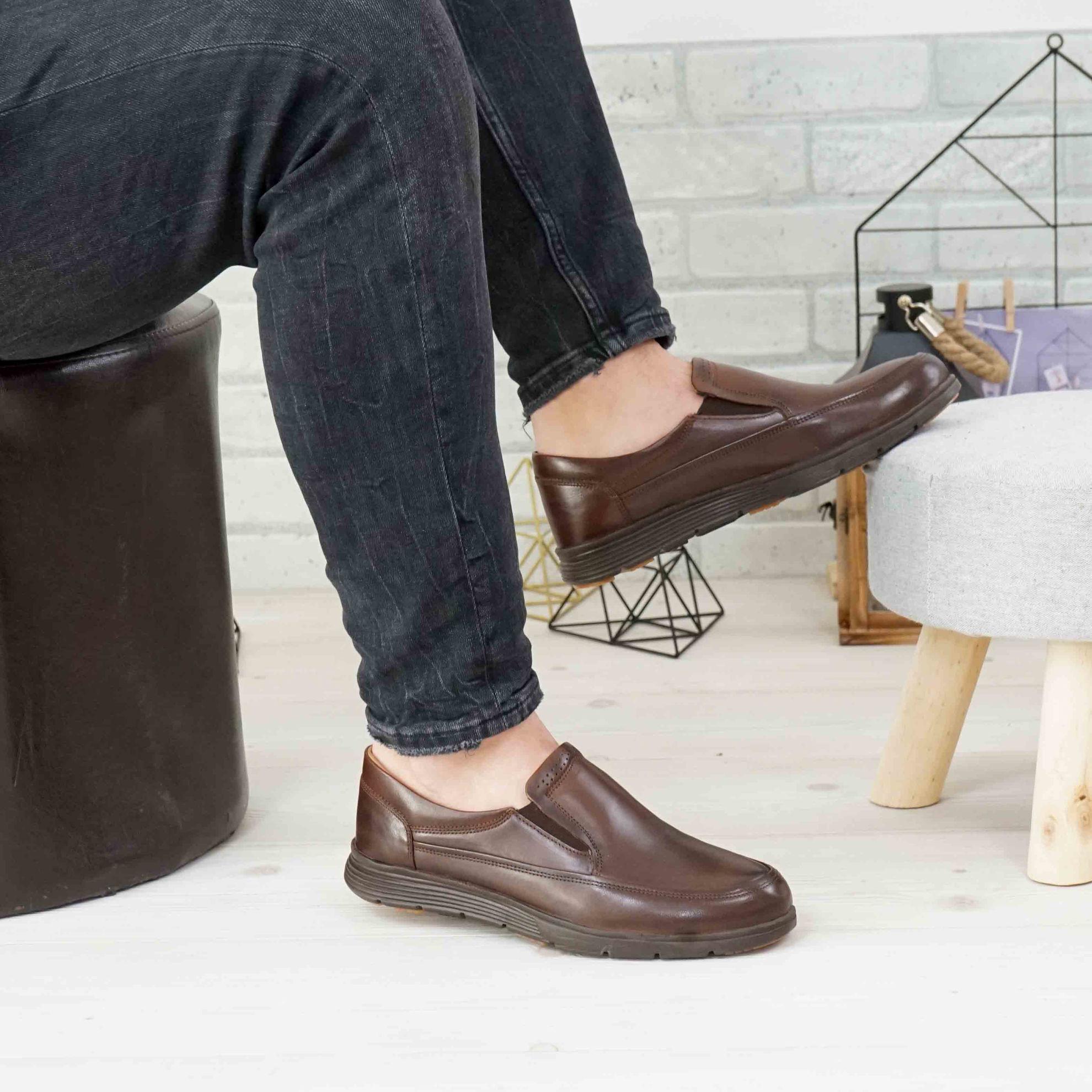Imagine Pantofi eleganți bărbați din piele naturală  Maro 2021SW