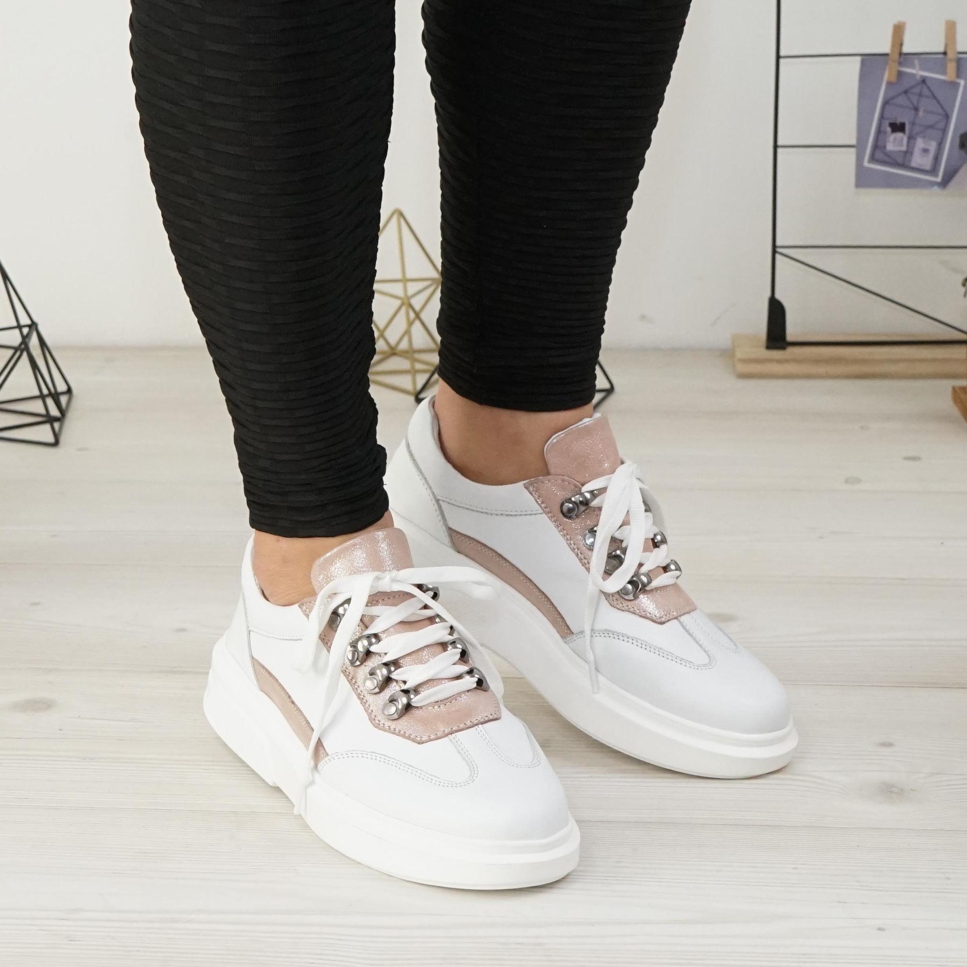 Imagine Pantofi damă din piele naturală 144 alb-roz
