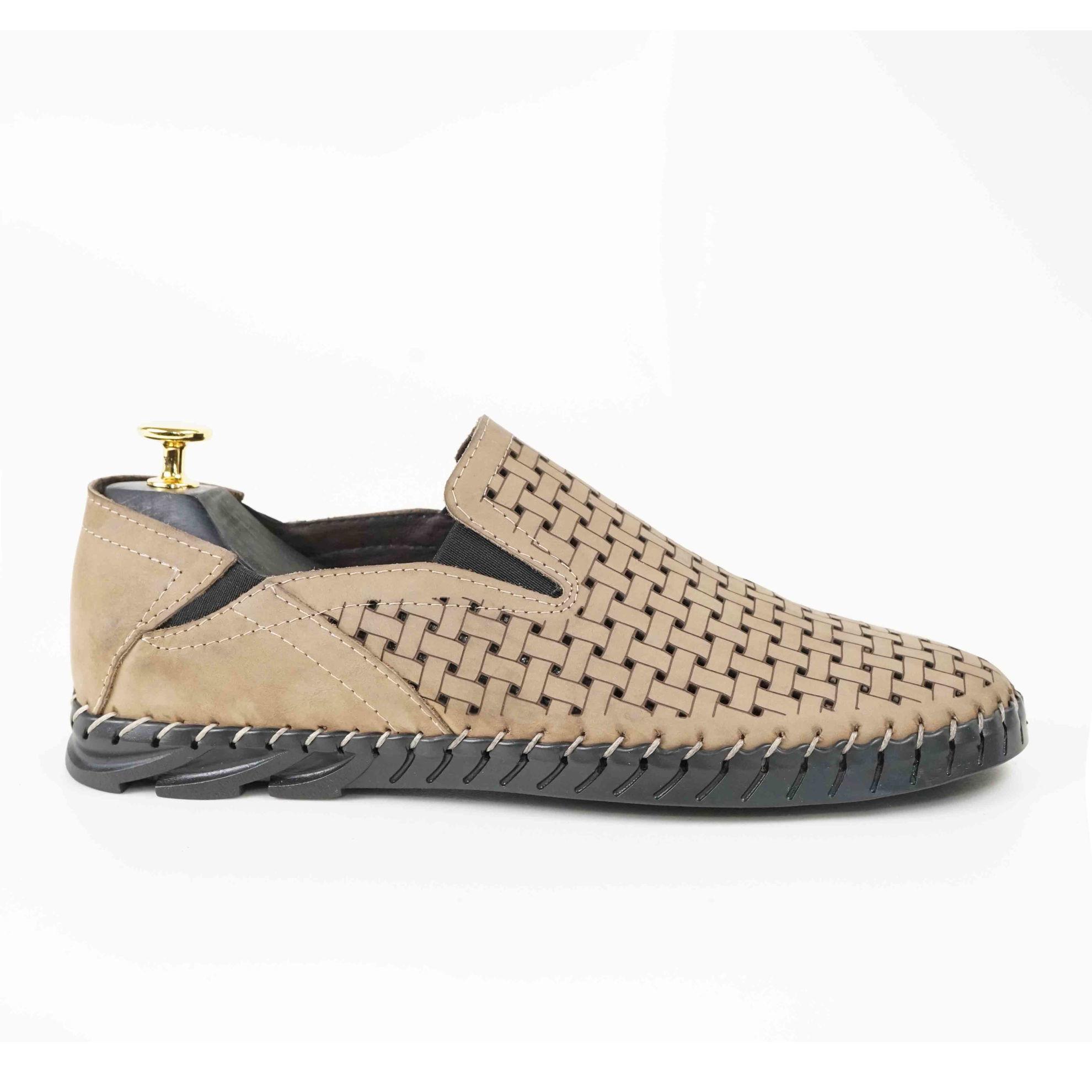 Imagine Pantofi casual bărbați piele naturală C116  nude perforat