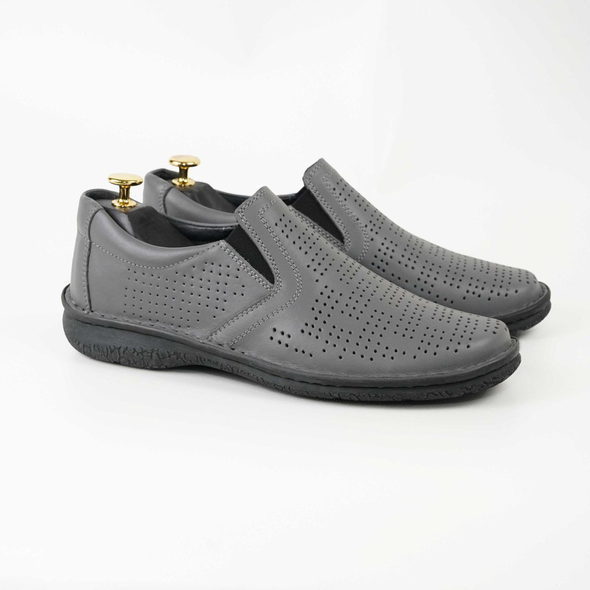 Imagine Pantofi casual bărbați piele naturală Cov gri