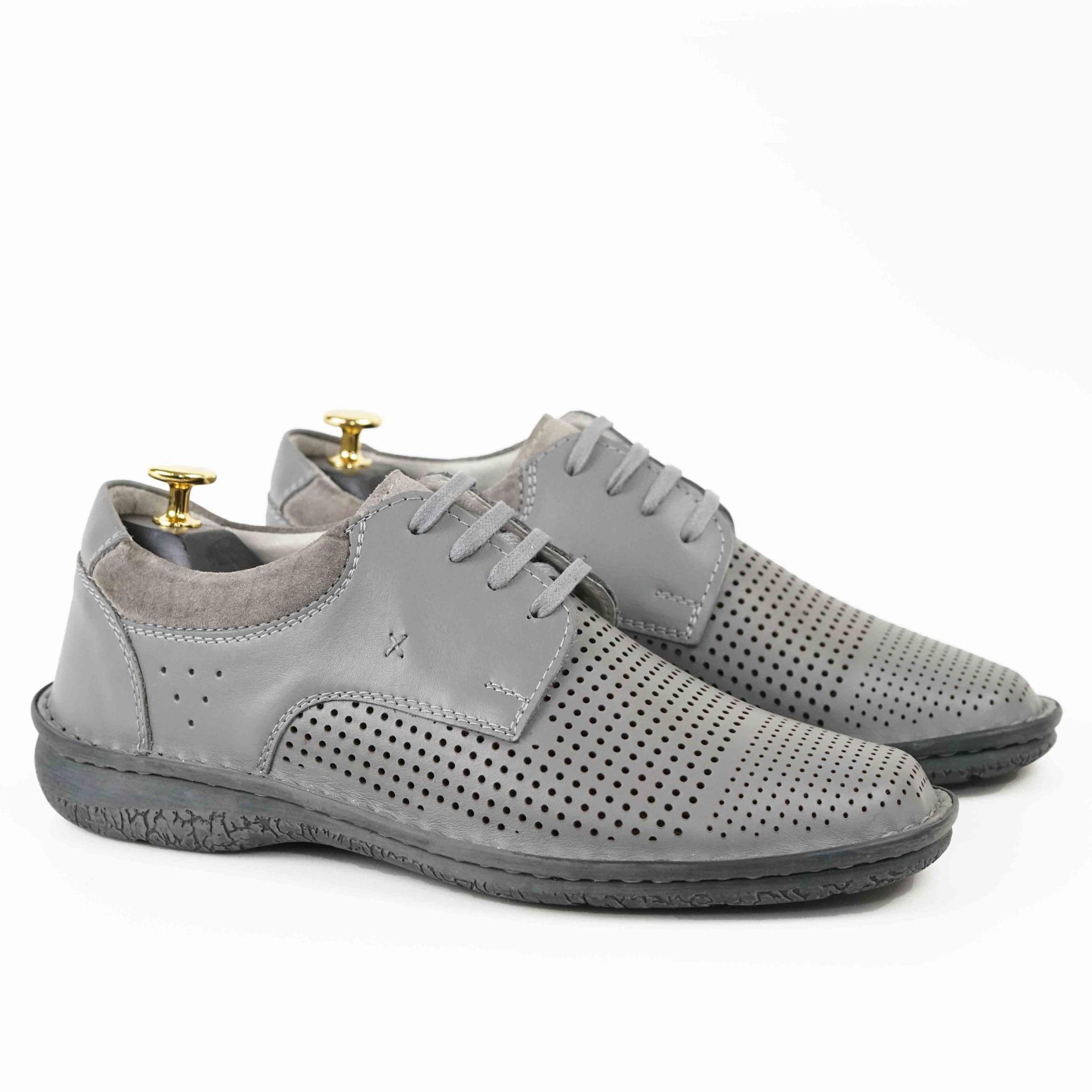 Imagine Pantofi casual bărbați piele naturală C88 siret gri