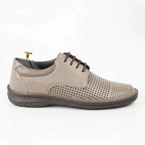 Imagine Pantofi casual bărbați piele naturală C88 siret bej