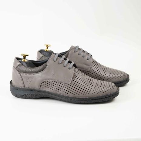 Imagine Pantofi casual bărbați piele naturală C88 siret bej închis