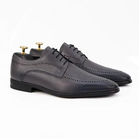 Imagine Pantofi eleganți bărbați din piele naturală 391 Gri