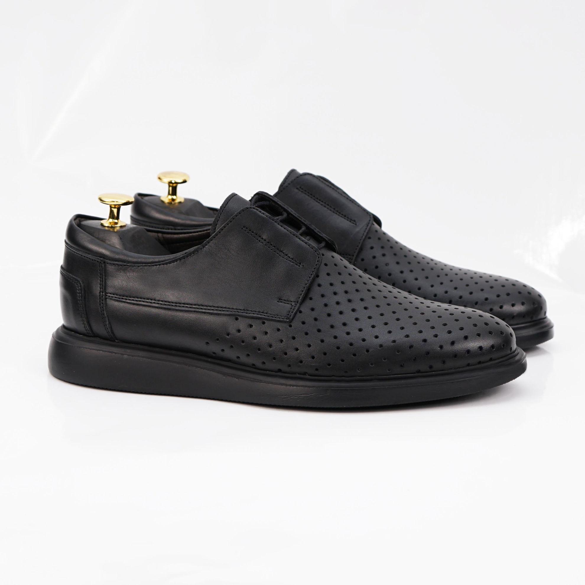 Imagine Pantofi casual bărbați piele naturală 558 G negru 1013