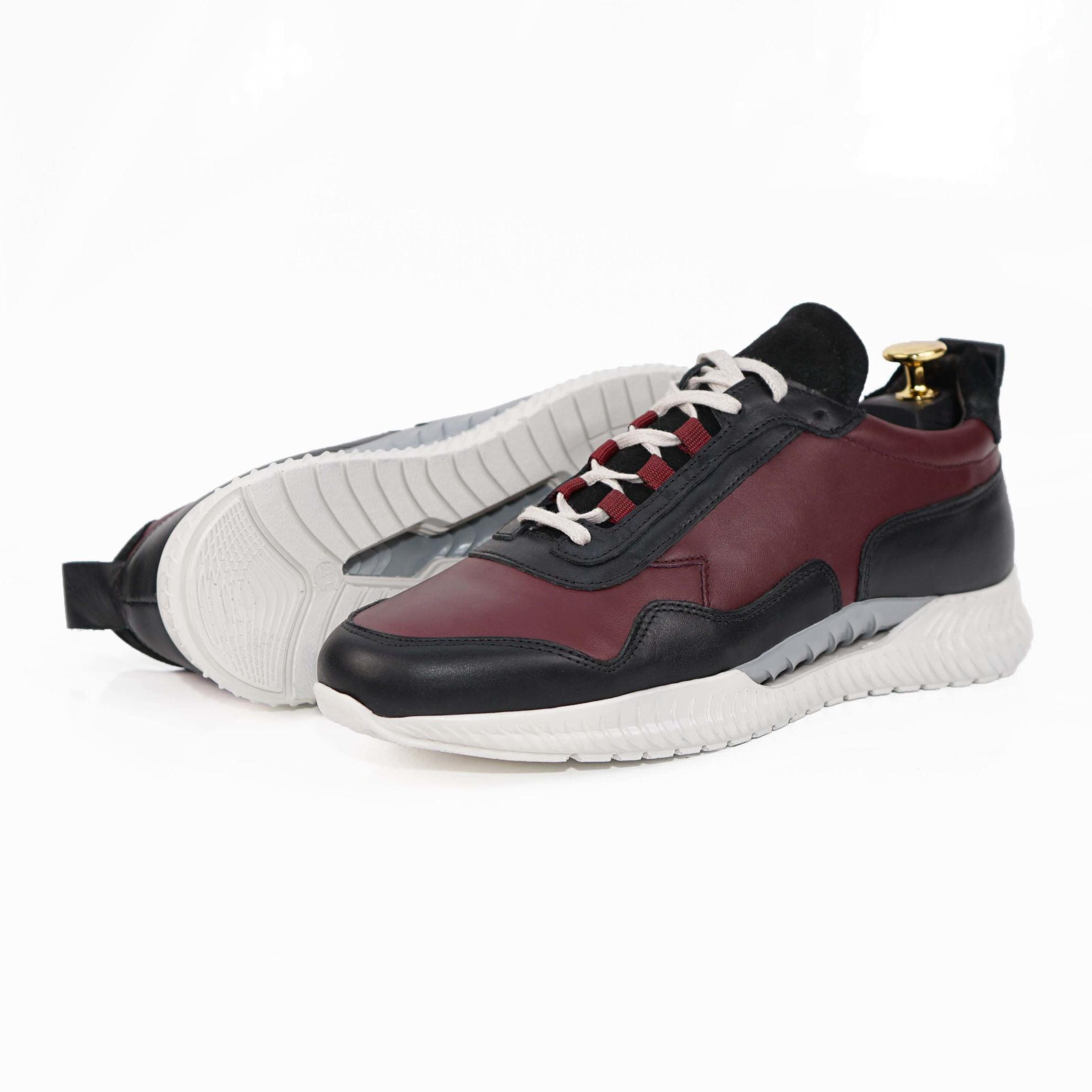 Imagine Pantofi sport bărbați piele naturală 467 visiniu-negru