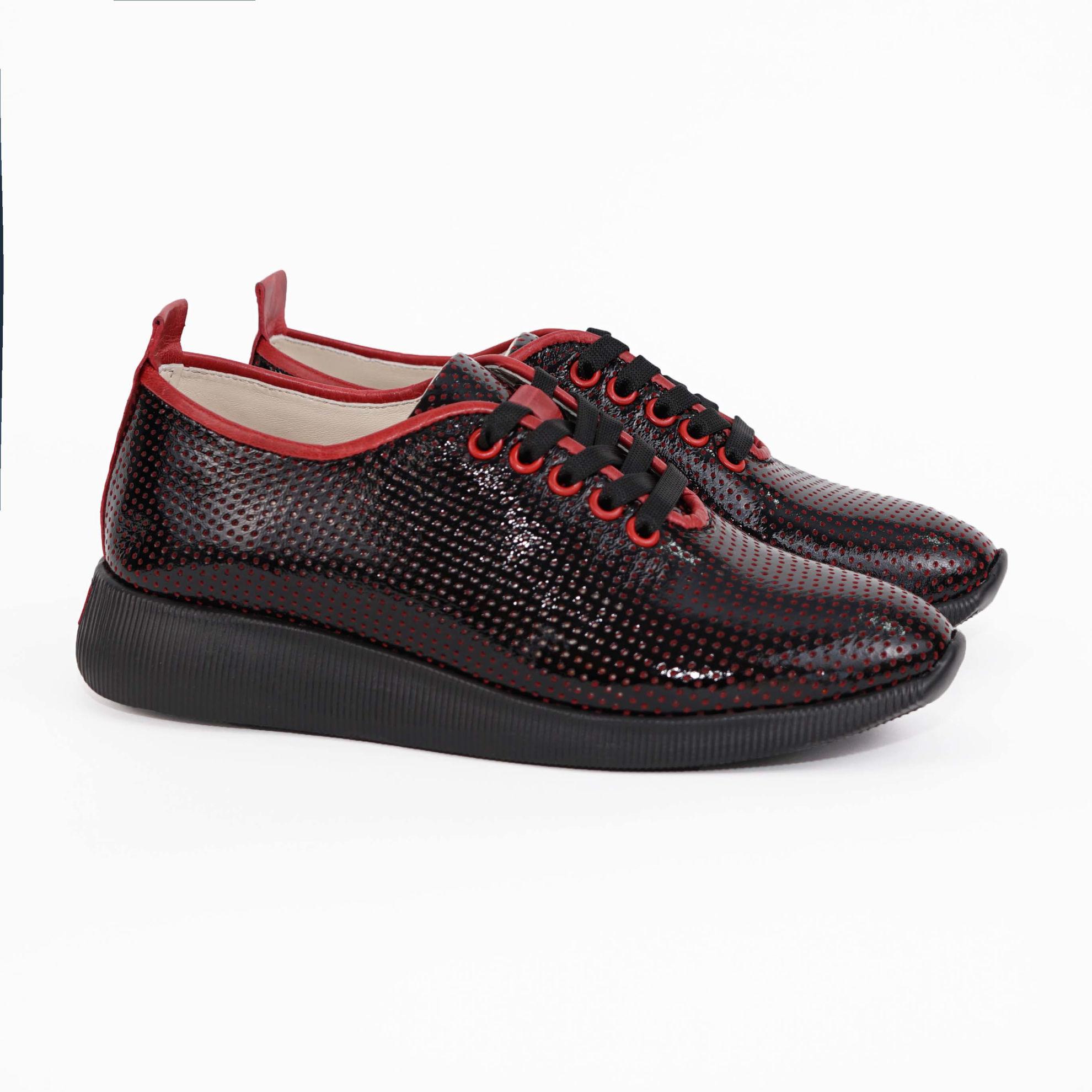 Imagine Pantofi damă piele naturală 145 Negru-rosu