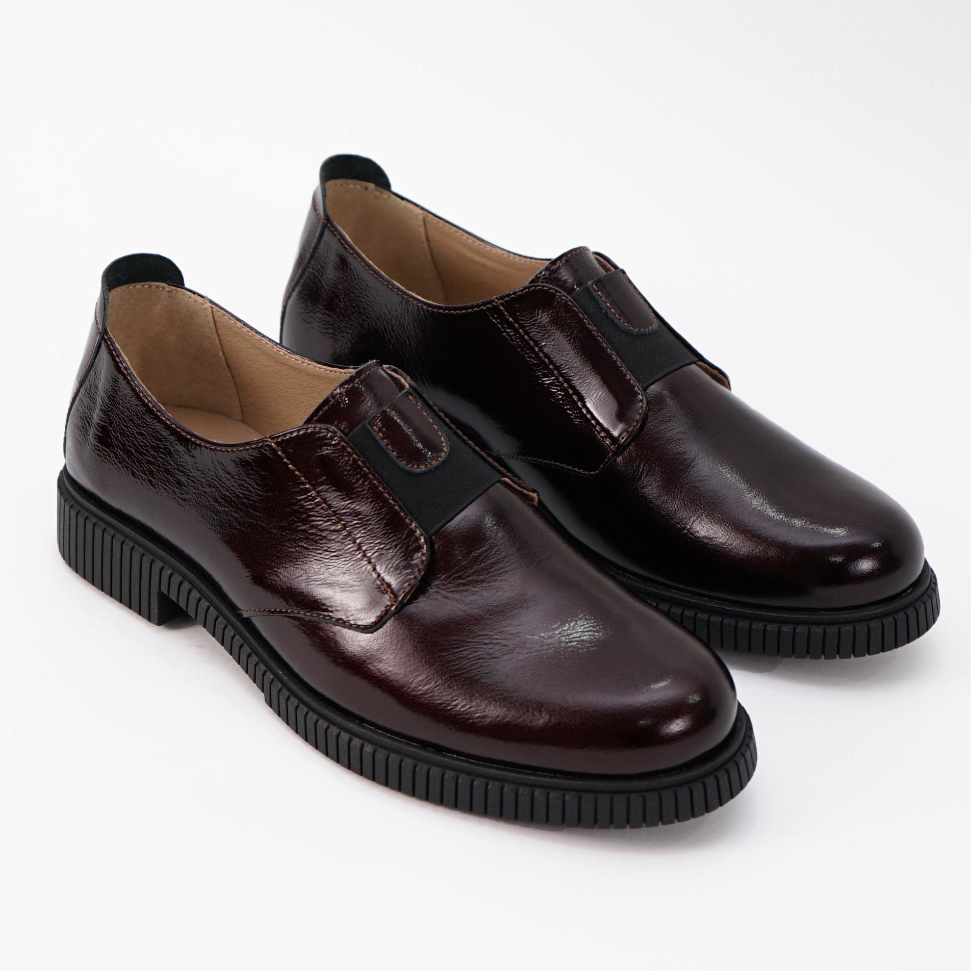 Imagine Pantofi damă piele naturală 208 lac maro