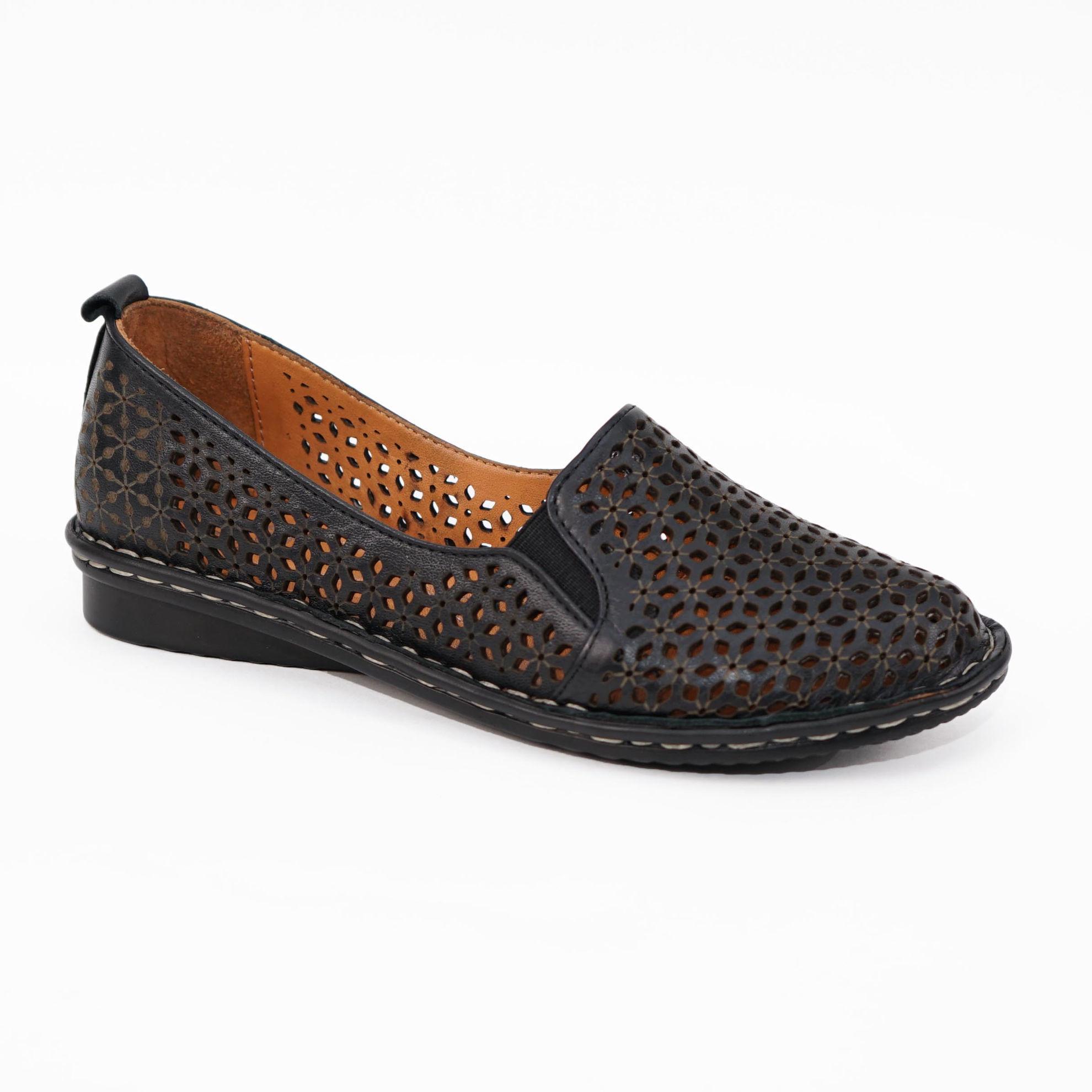 Imagine Pantofi perforati damă piele naturală T 4000 negru