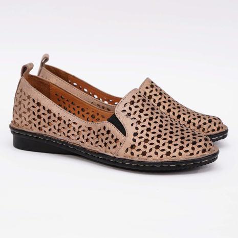 Imagine Pantofi perforati damă piele naturală T 4000 pudra