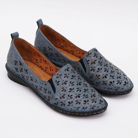 Imagine Pantofi perforati damă piele naturală T 4000 albastru