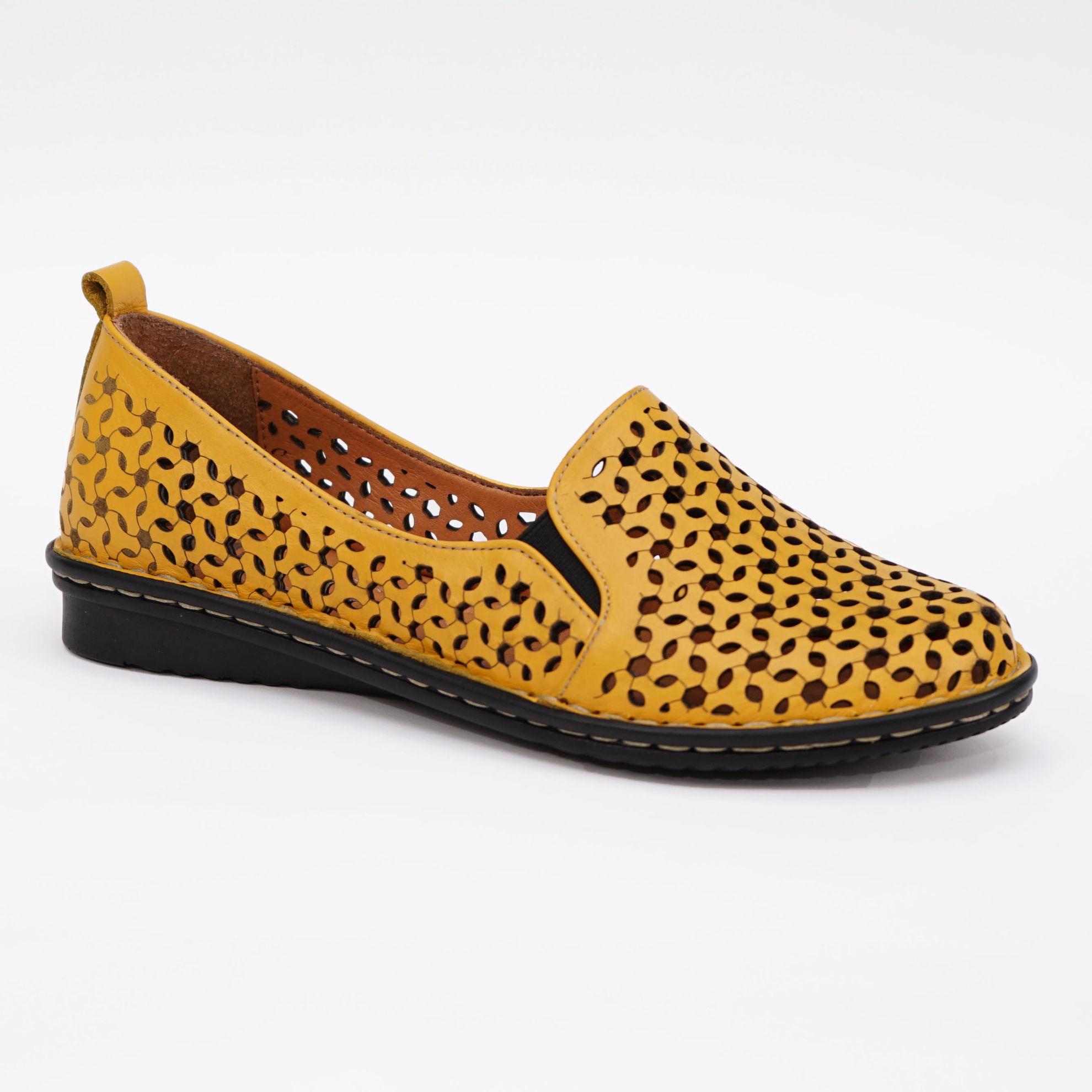 Imagine Pantofi perforati damă piele naturală T 4000 galben