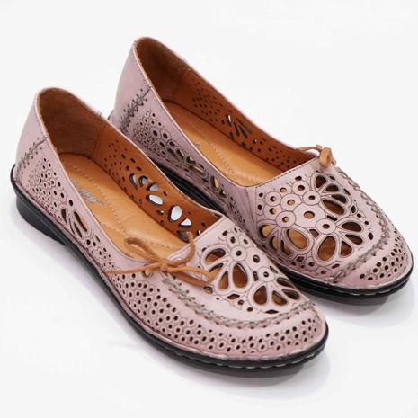 Imagine Pantofi perforati damă piele naturală T 2000 roz  pudra